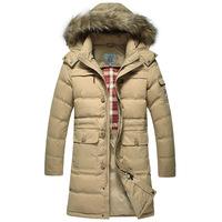 2014 Winter Men's long down jacket thick warm coat outwear