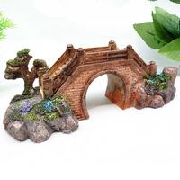 Fish tank aquarium decoration Mini Bridge Tree Resin Art Ornament L16cm*W6cm*H5cm free shipping