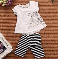 September new summer Girls Leopard print Lace t-shirt + Striped pants 2 pieces children's clothing sets 5set/lot #210217