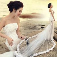 Free shipping new 2014 long lace wedding dress mermaid vestido de noiva hot&sexy gown