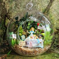 DIY  Light crystalball mini fairy forest alice forest afternoon tea Dollhouse kit