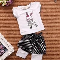 September new summer Girls Cartoon Rabbit t-shirt + Fake 2-piece Pants children's clothing sets 5set/lot #210222