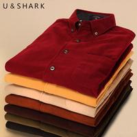 Free shipping U - SHARK corduroy/men long sleeve shirt