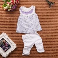 September new summer Girls Floral Tank top + Pants 2 pieces children's clothing sets 5set/lot #210218
