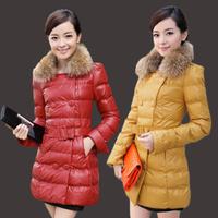 2014 PU autumn and winter wadded jacket medium-long cotton-padded jacket outerwear down wadded jacket thickening cotton-padded