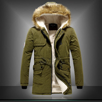 Male autumn and winter fur collar with a hood men long winter jacket hooded p for ar ka overcoat