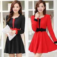 2014 spring and autumn elegant long-sleeve slim one-piece dress female pullover expansion bottom basic