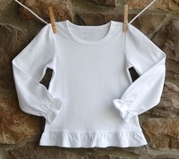 Wholesale: Girl's spring summer baby long-sleeve  100% blank cotton casual basic T-shirt, pure color, mixed sizes , 20pcs/lot