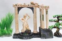 Fish tank decor large rome columns theme  rockery Large L35cm*H32cm*W12cm Art Roman Statue Aquarium Ornament free shipping