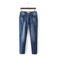 2014 Women's autumn fashion vintage loose elastic denim trousers roll-up hem skinny pants