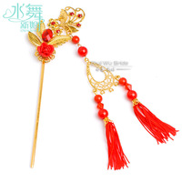 Traditional Chinese Style Bride Hair Stick Hair Accessory Tassel Child Red Classical Accessories Polymer Clay Flower Headwear