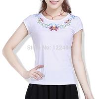 003 female 2014 summer short-sleeve national trend women's embroidered slim t-shirt plus size white