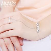 Mymiss925 silver platinum chain bride ring bracelet one piece trend chain female accessories