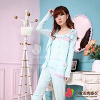 Sleepwear blue lace 100% cotton three piece set home female comfortable sleepwear