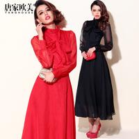 Free shipping Fashion autumn 2014 female long-sleeve bow lacing slim waist long paragraph thin one-piece dress yc