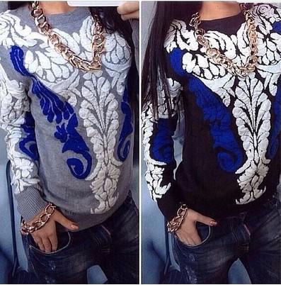 Европейский популярные женские кофты, свитера синий