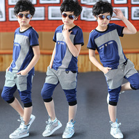 Children's clothing male child set 2014 male big boy summer child set male short-sleeve child set