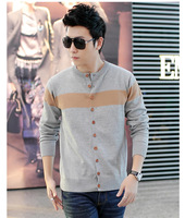 Fall men's sweater 2014 new men long sleeve knit cardigan male personality thin section teenagers