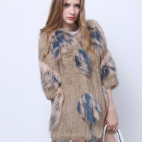 2014 New Arrival  100% Real Rabbit Fur Coat, Natural Raccoon fur Coat, Rabbit Fur Knitted Jacket SU-14095 EMS Free Shipping