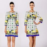 2014 vintage elegant yellow lemon jacquard print three quarter sleeve female one-piece dress