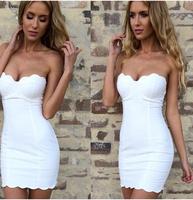 Petals scalloped slim tube top spaghetti strap one-piece dress 3