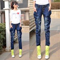 2014 personalized spring and summer denim pants female fashion harem pants denim long trousers