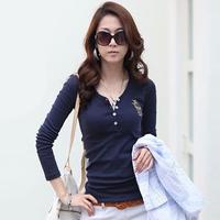 Free Shipping 2014 autumn t-shirt V-neck embroidery long-sleeve Cotton T-shirt slim basic shirt plus size female