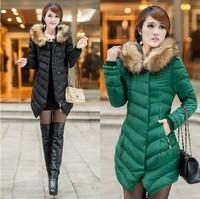 2014 New Brand Desige Fashion Clothing Fur Collar Zipper Long Style Women Warm Down Coat 3 Colors Winter parkas coat Size XXXL