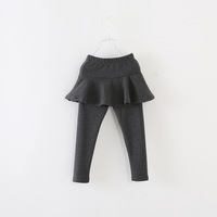 free shipping  2014 autumn female child trousers child 100% cotton culottes solid color legging trousers