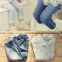 2014 autumn pants lace girls clothing baby child long trousers jeans az-368920