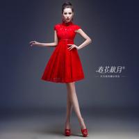 New 2014 Free Shipping Red Evening Formal Women Dress High Waist Bride Fashion Short Design Stand Collar Cheongsam Style