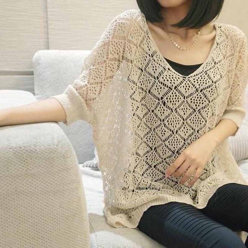 2014 verão plus size roupas finas camisa net camisola recorte solto protetor solar ar condicionado camisa(China (Mainland))