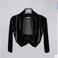 Free shipping 2014 new women's autumn gold velvet shawl cardigan short sleeved jacket