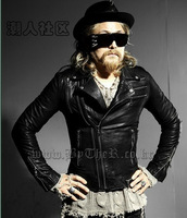 Fashion Male Slim Long Sleeve Cool  Punk Motorcycle Zipper Leather Short Jackets Singer stage costumes outwear