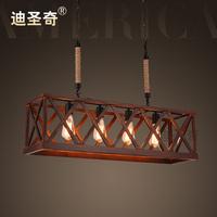 Modern vintage american wooden hemp rope rectangle pendant light