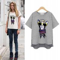 New 2014 Cartoon animal printed Short Sleeve t Shirt Women Summer Couple Cotton asymmetric women t-shirt