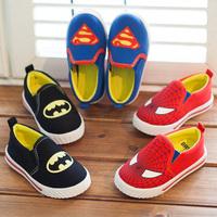 New 2014 Autumn kids canvas shoes superman spiderman batman cartoon boys girls sneakers baby toddler shoes