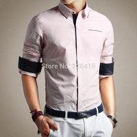 2014 New Top Quality Plus size M-5XL Mens shirt long-sleeve mens dress shirts solid camisa social masculina Free Shipping