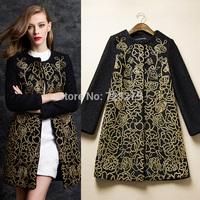 2014 women's Bead tube three-dimensional Embroidered ladies fashion slim Medium-long Overcoat