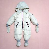 2014 baby clothing baby infant down coat long bodysuit set