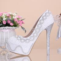 Pearl rhinestone bridal shoes white ultra high heels wedding shoes elevator women's platform shoes wedding shoes thin heels