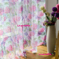 Fresh rustic screens flower print curtain yarn balcony curtain finished product tulle free shipping