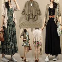 cardigan cape medium-long all-match loose short-sleeve cotton silk cape outerwear women autumn thin outwear