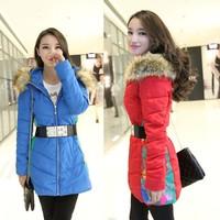 2014 New  Fashion Clothing Fur Hooded Zipper Long Style Women Warm Down Coat 5 Colors Winter parkas coat Size XL-XXXL