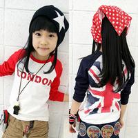 2014 autumn Letter and British flag boys clothing female child  long-sleeve T-shirt tx-125538 basic shirt