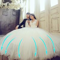 sexy wedding dress  deep V-neck  white bride  dress  with free wedding gloves and  free Veil