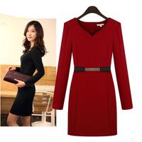 2014 plus size clothing slim elegant work wear long-sleeve basic one-piece dress