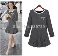 2014 fashion plus size autumn women dress long sleeve plaid slim dress elegant vintage cute party evening mini dress XL-5XL