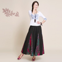 [ LYNETTE'S CHINOISERIE - Sang ] National 2014 trend women's fluid flower colorant match culottes horn pants feet trousers