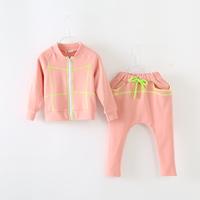 free shipping Female child set child zipper-up 100% cotton harem pants casual twinset sports clothing